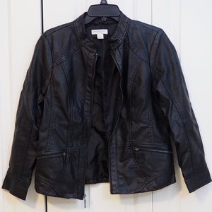 Christoper & Banks Faux Leather Jacket Fall Coat